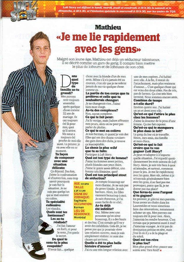 Mathieu: Je me lie rapidement avec les gens